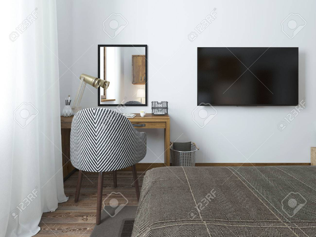 Schlafzimmer Tv Wand Stock Photo