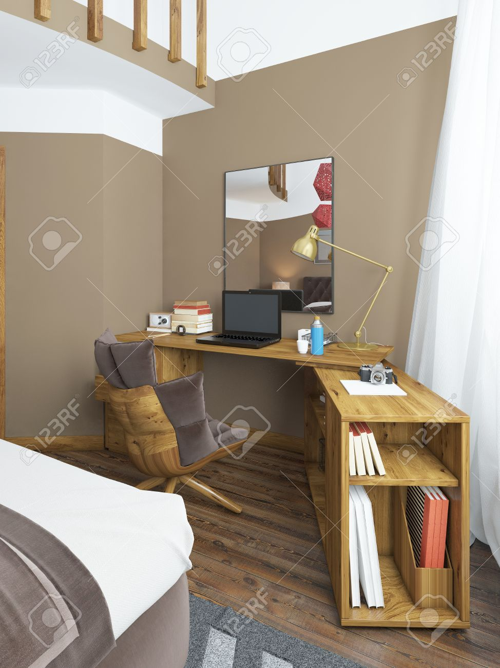 Schlafzimmer Massivholz Stock Photo