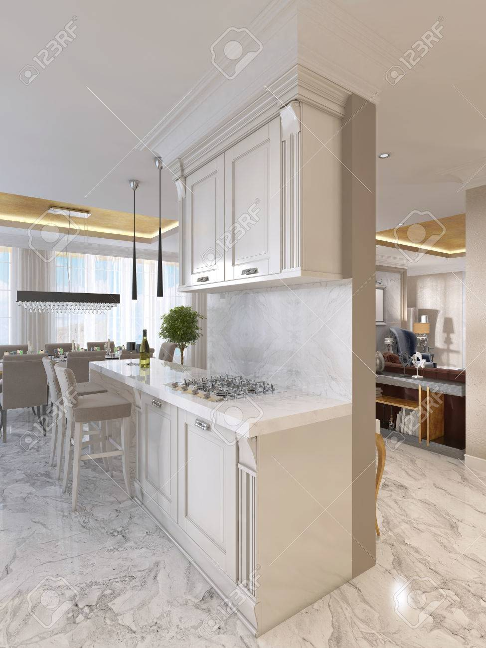 Art Deco Design Cuisine Luxury Kitchen With Opaline Furniture In Art Deco Style With