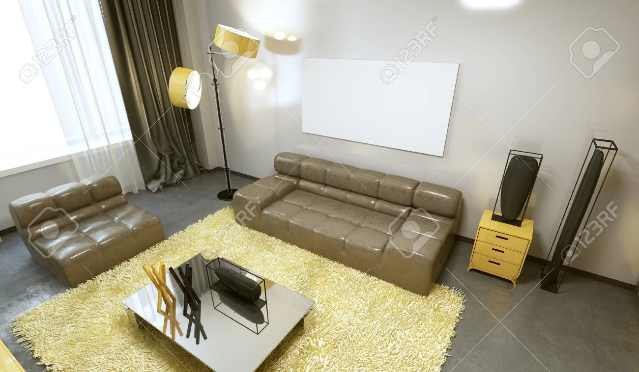Luxurious Contemporary Living Room In Pale Grey Yellow And Brown Stock Photo Picture And Royalty Free Image Image 68036445