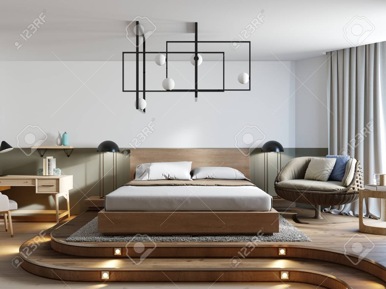 Bedroom Designer Free Loft Style Bedroom Interior Design With Rattan Chair And Desk
