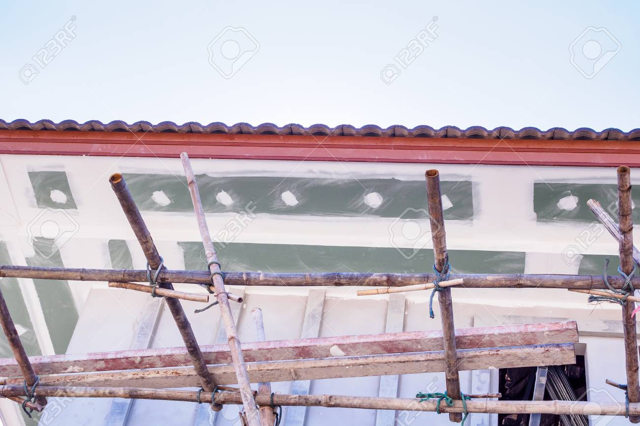 Fascia Board Soffit And Fascia Board Installation At House Building Construction