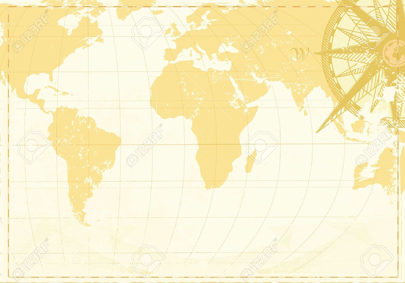 Vector illustration of cool grunge background with vintage word map and retro compass