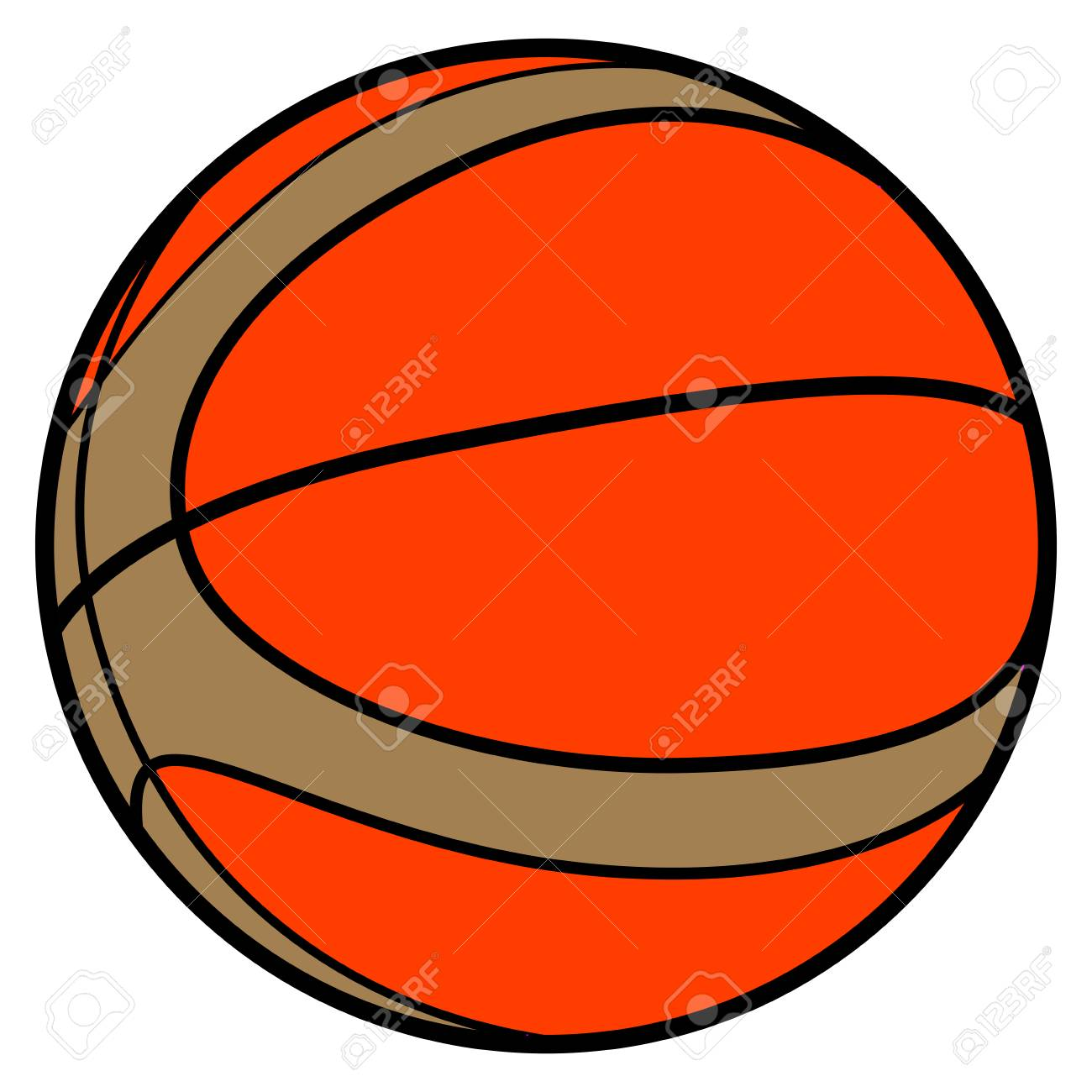 Basketball Ball Isolated Comic Basketball Ball On A White Background Illustration