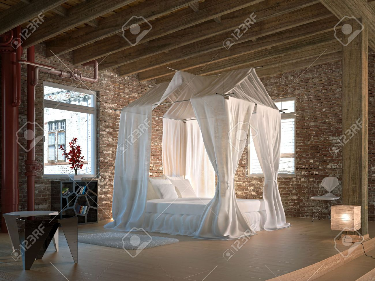 Luxus Schlafzimmer Mit Himmelbett - Stock Photo