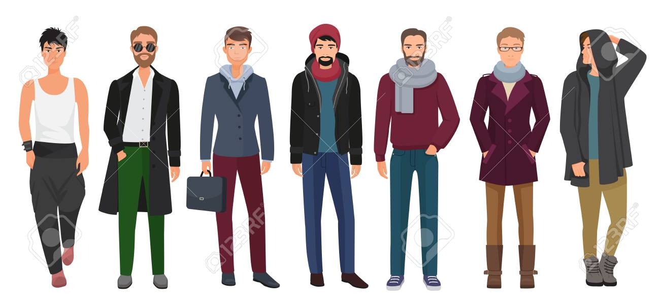Stylish Clothes Handsome And Stylish Men Set Cartoon Guys Male Characters In