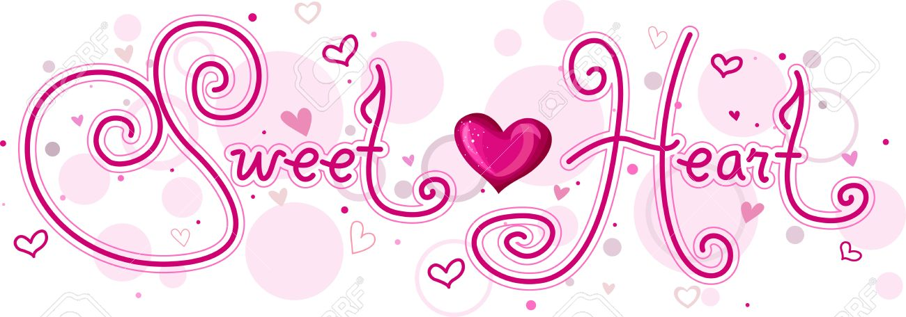 Cute Lettering Featuring The Word Sweetheart Stock Photo, Picture