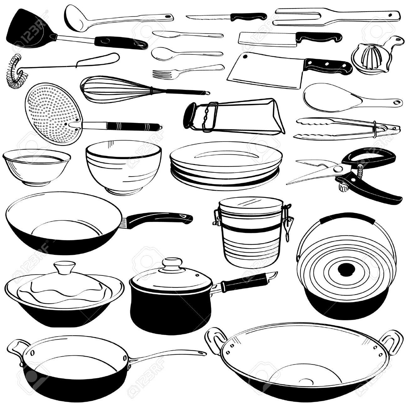 Kitchen tool utensil equipment doodle drawing sketch stock vector 11102683