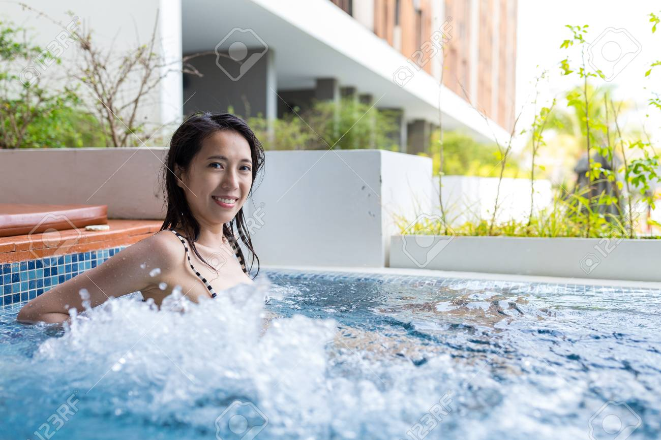 Jacuzzi In The Pool Beautiful Woman In Jacuzzi Pool