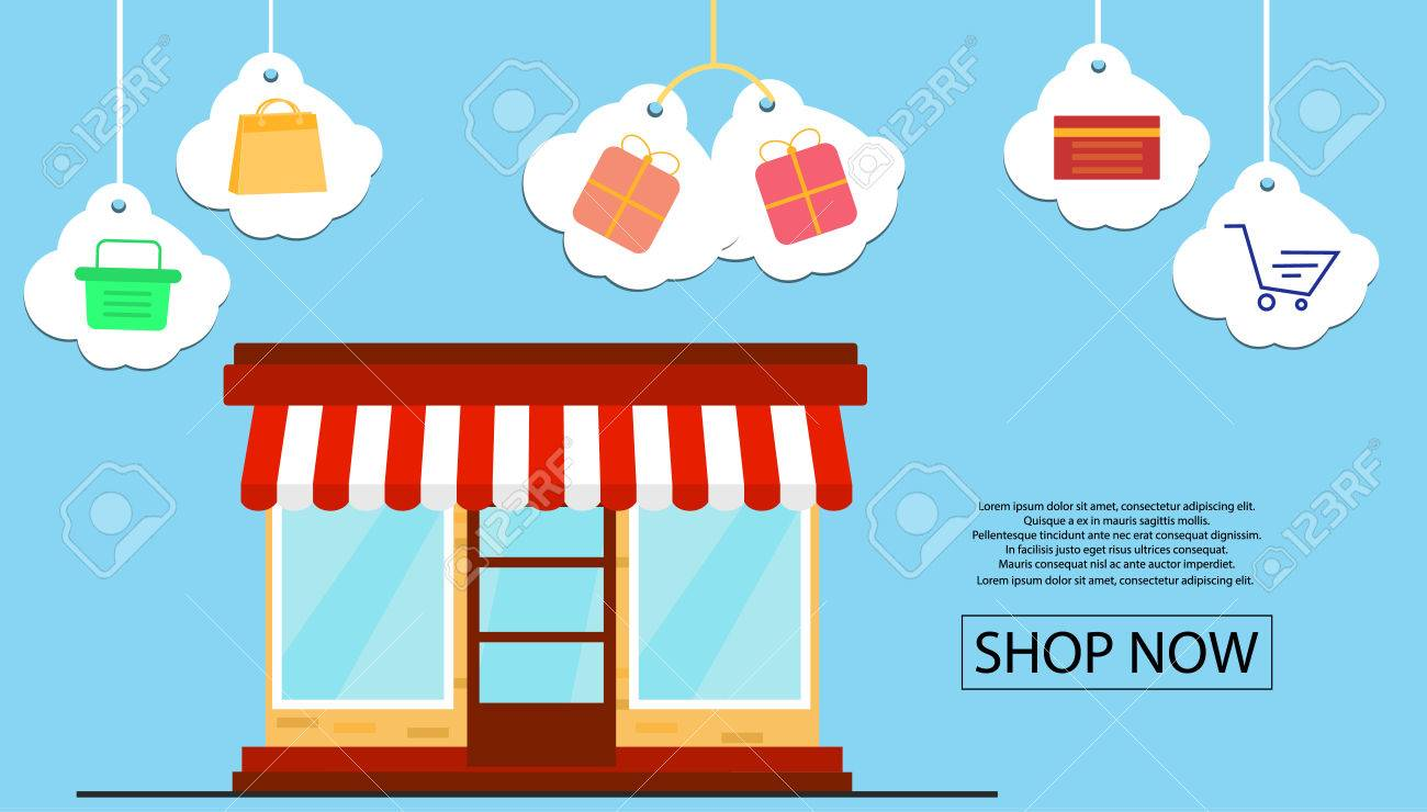 Design Online Shop Online Shop Banner Design For Promotion With Shop Front And Shopping