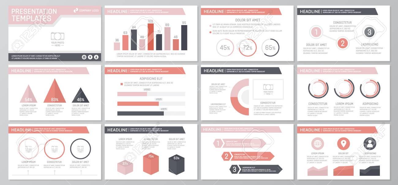 Set Of Red Elements For Multipurpose Presentation Template Slides