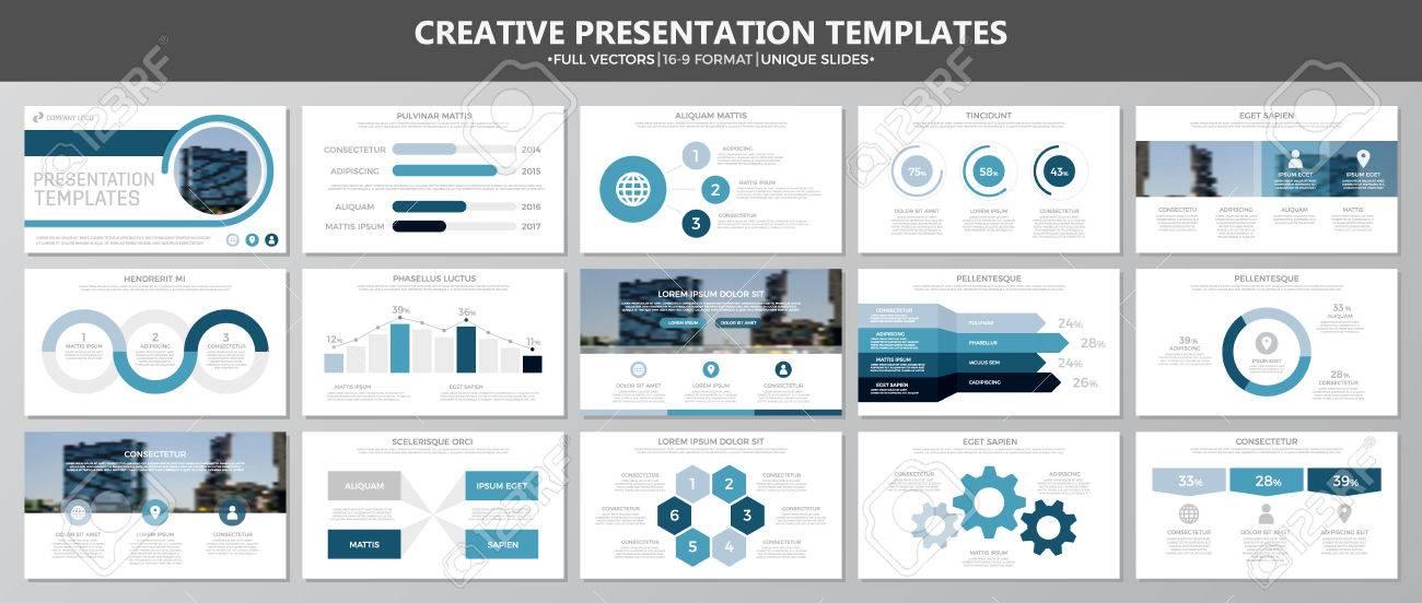 Set Of Blue Elements For Multipurpose Presentation Template Slides