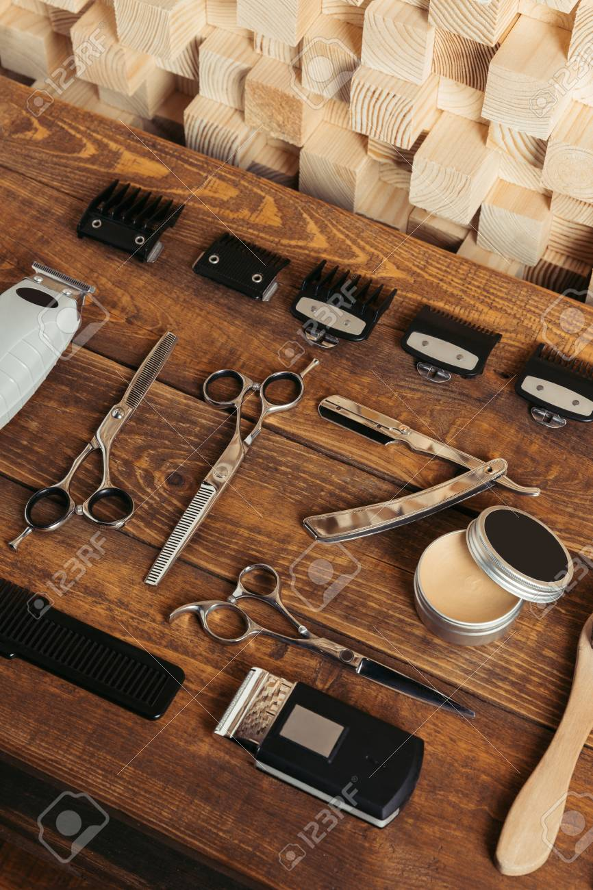 Salon Angle High Angle View Of Various Professional Barber Tools On Wooden
