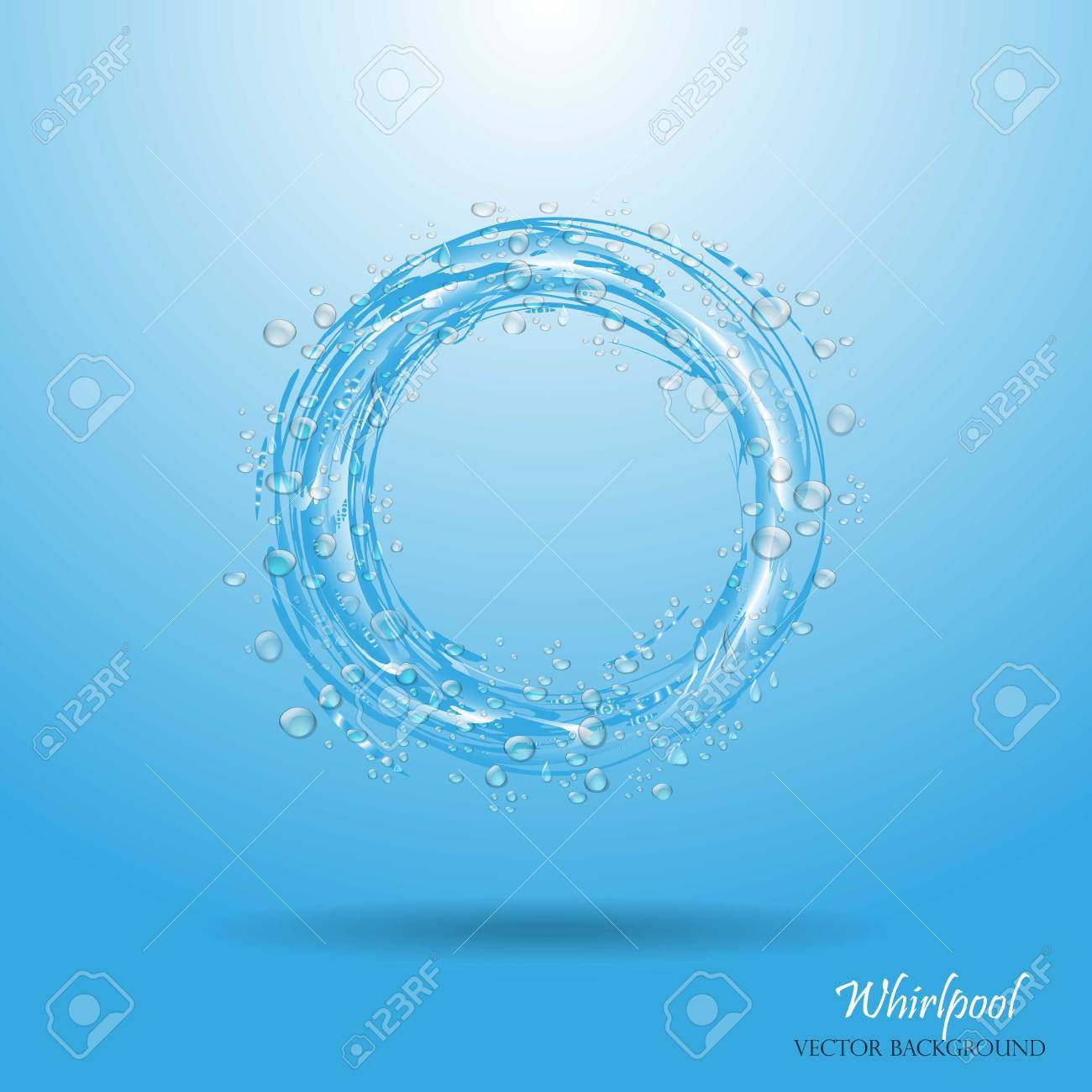 Aqua Whirlpools Water Circle Whirlpool Realistic Water Droplets Vector Illustration