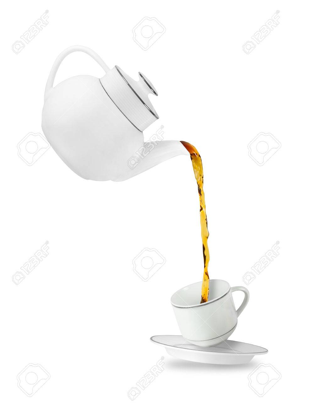 Teapot With Cup Pouring Tea In Tea Cup Teapot And Cup Isolated On White Background
