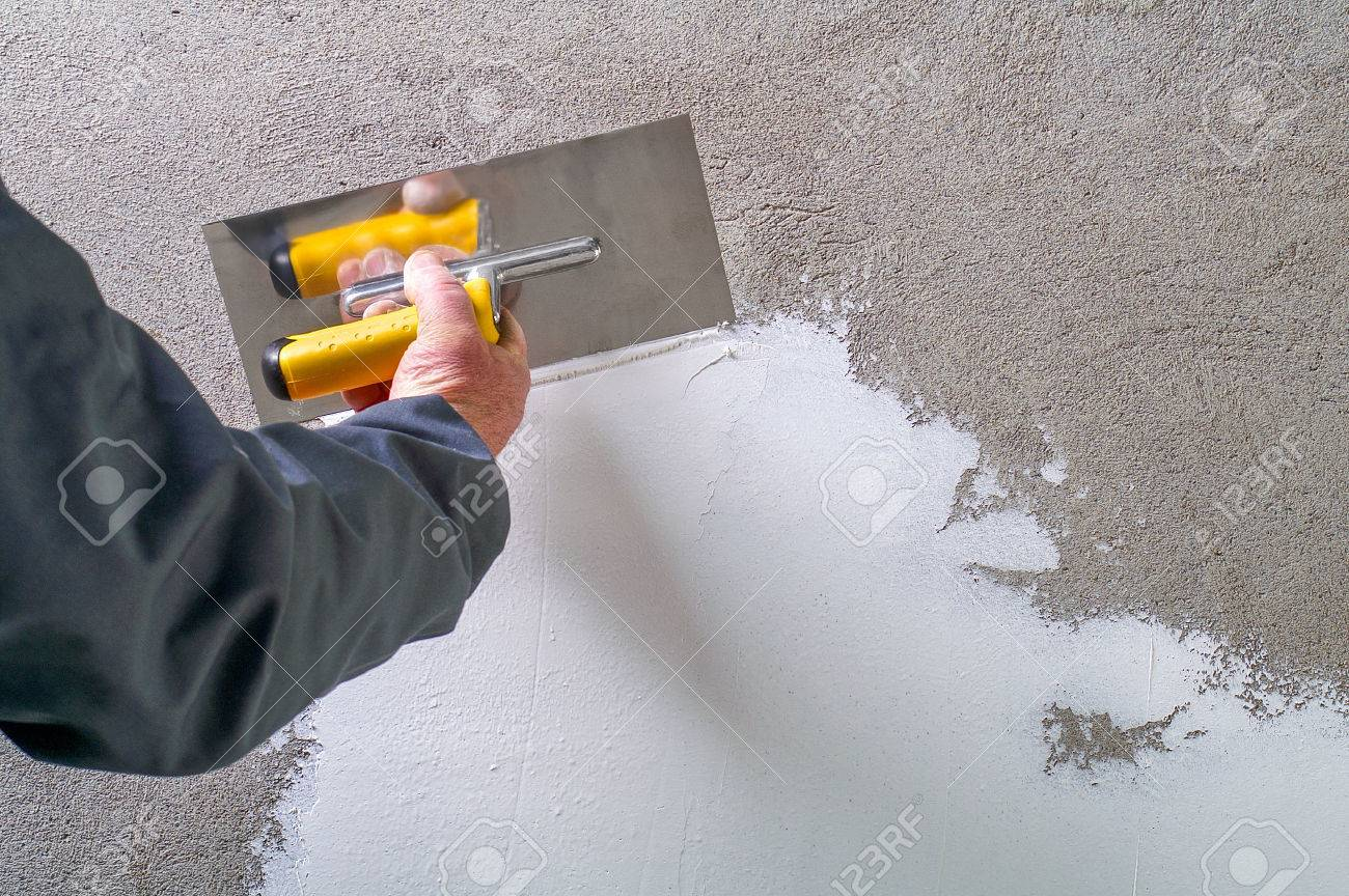 Betonwand Verputzen Stock Photo