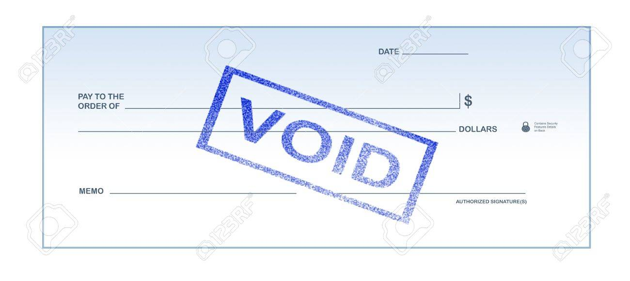 Isolated White Background Void Blank Check Stamp For Office Supply