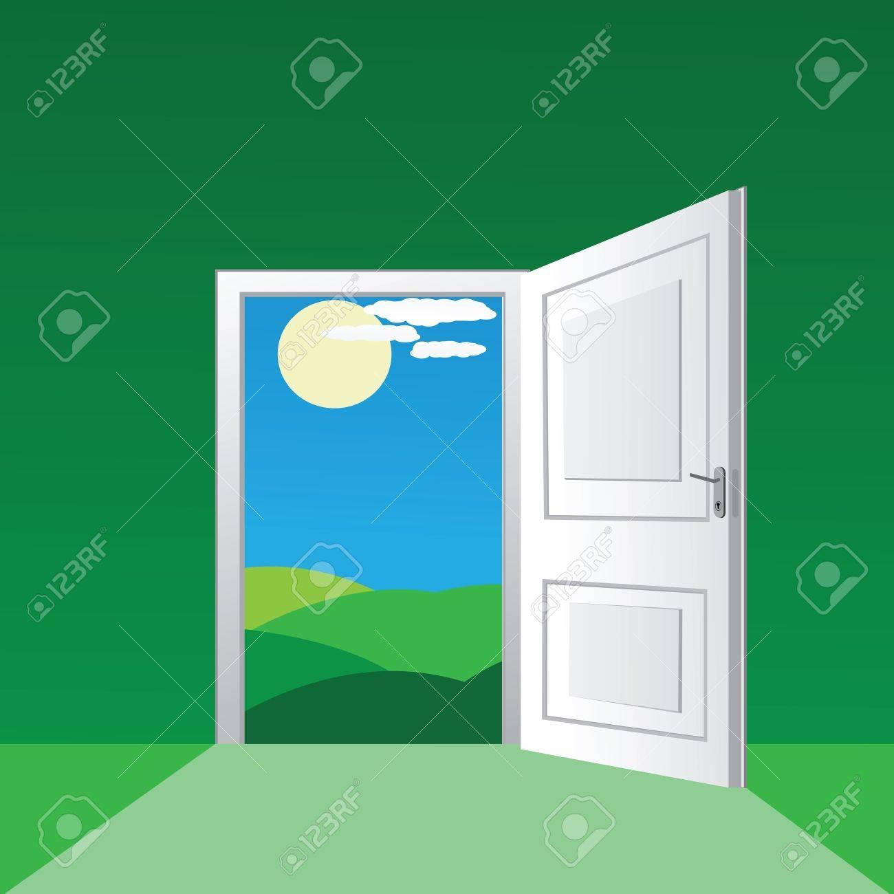 Open Front Door Illustration open front door