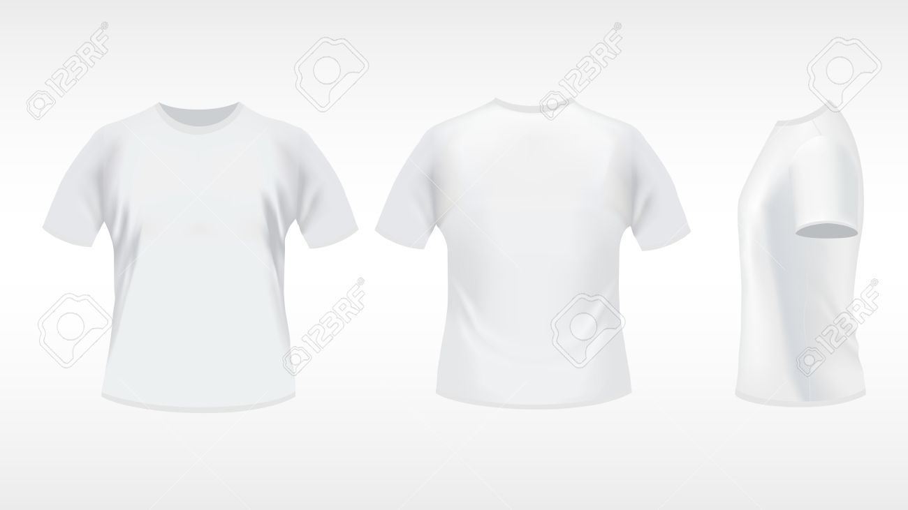 White t shirt front and back template -  White T Shirt Design Template Front Back Download