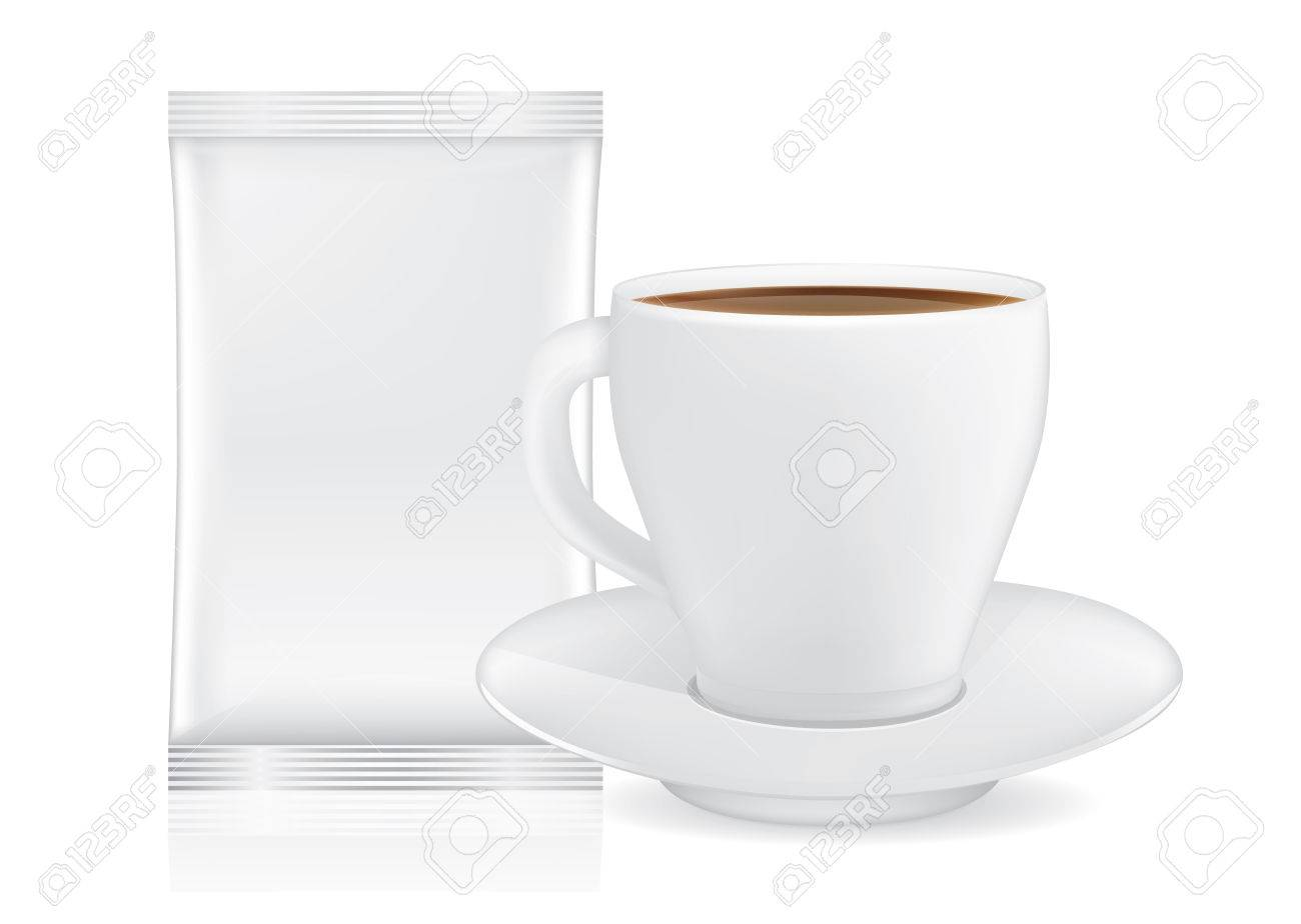 Small Coffee Cups And Saucers White Coffee Cup And Saucer Near Blank Sachet Small Size Isolated