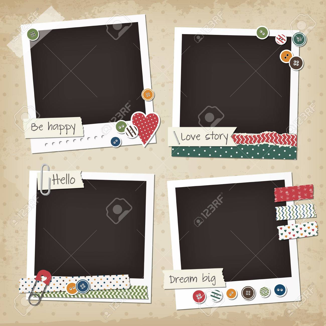 Fotolijst Stickers Scrapbook Vintage Set Of Photo Frames With Buttons Stickers