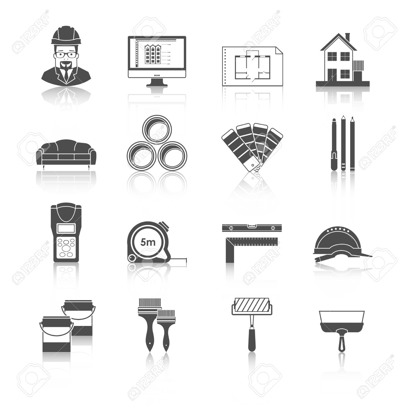 Interior Design And Repairs Vector Black Icons Download