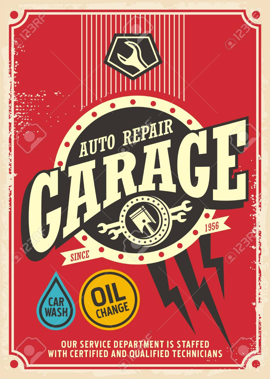 Garage Design Template Classic Garage Retro Poster Design Template Car Service And