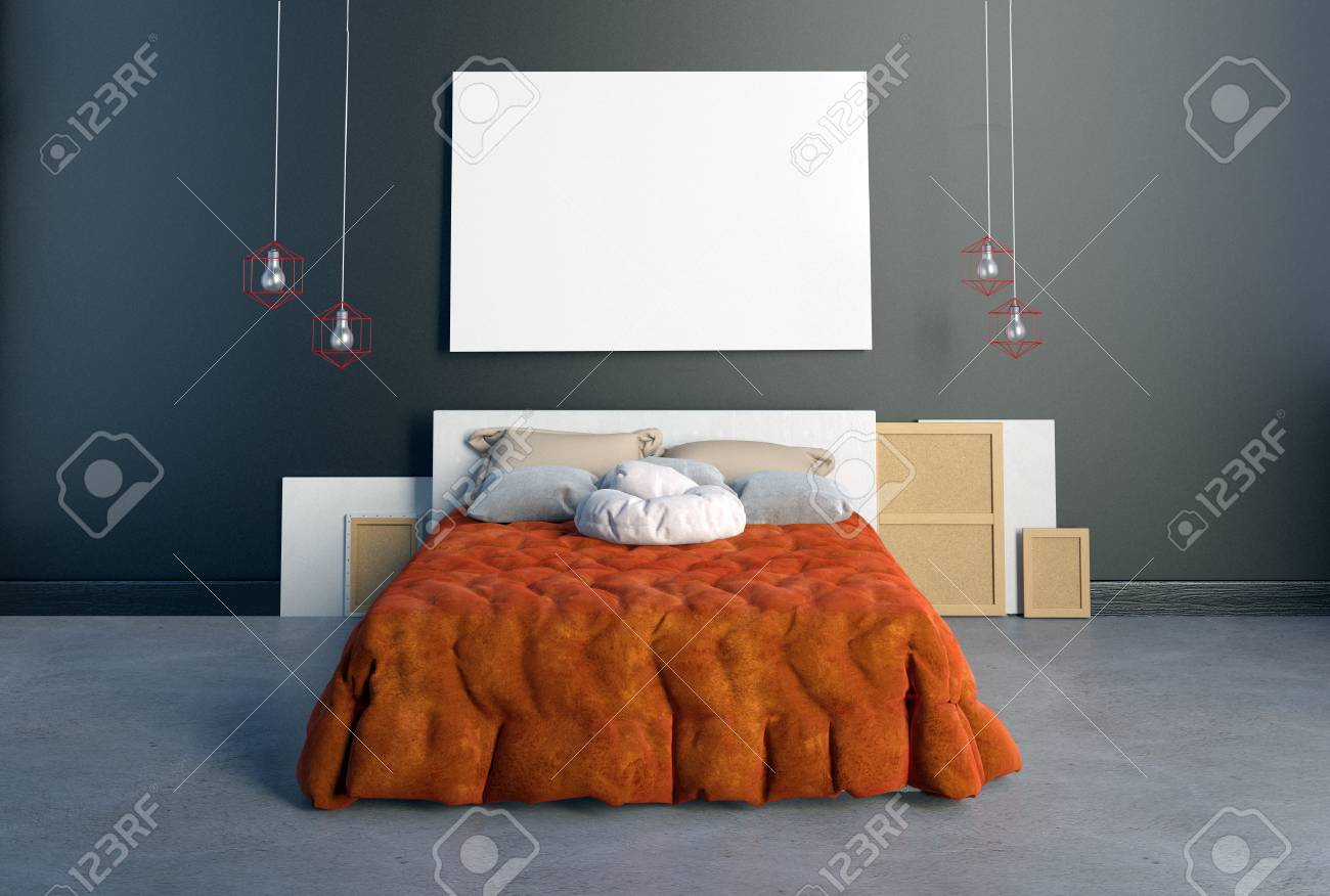 Camera Da Letto Hipster Mock Up Posters In Bedroom Interior Bedroom Hipster Style 3d
