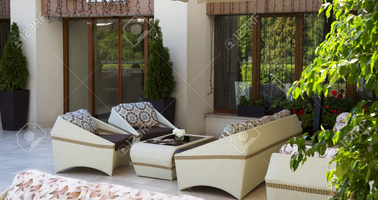 Outdoor Sofa Rattan Set Of Luxury Wicker Furniture On Summer Garden Terrace Outdoor