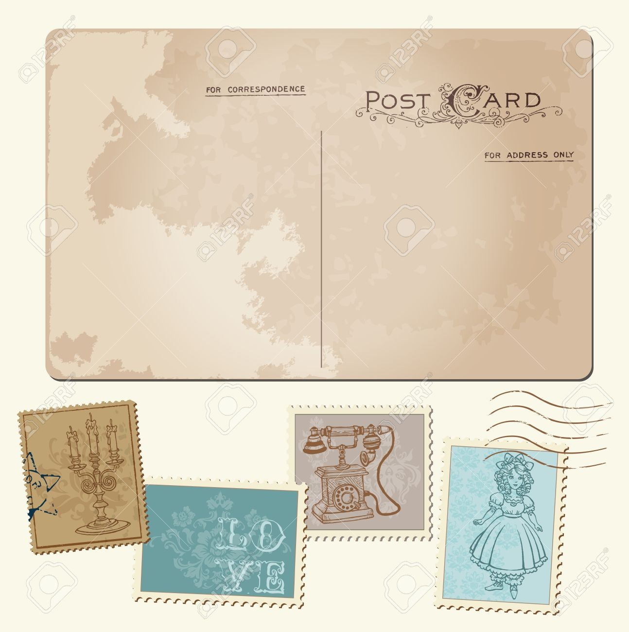 Vintage postcard and postage stamps for wedding design invitation congratulation scrapbook stock