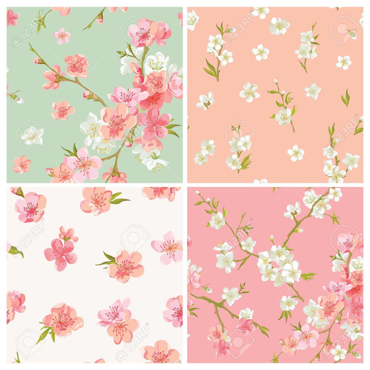 Shabby Deutsch Set Of Spring Blossom Flowers Background Seamless Floral Shabby