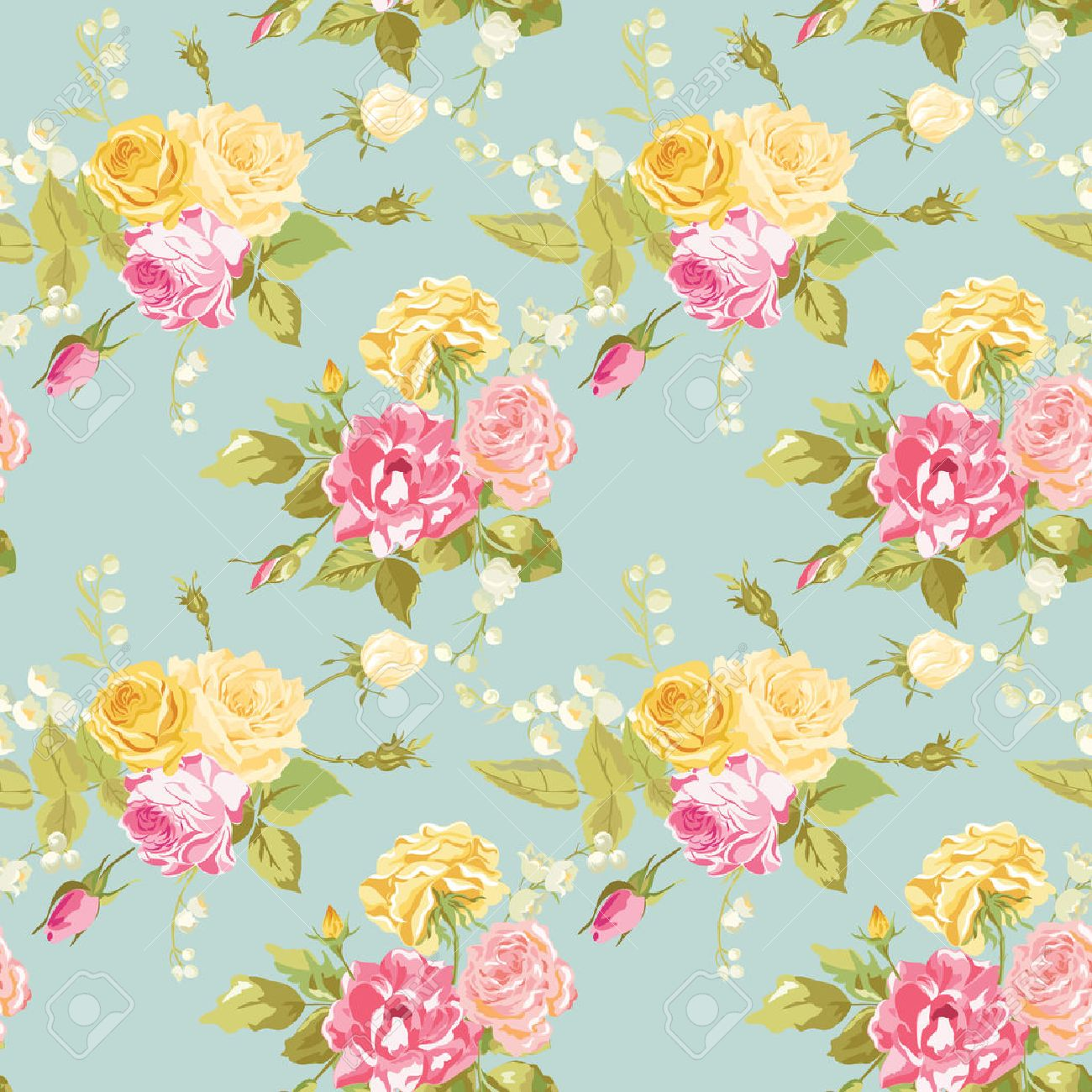 Shabby Chic Seamless Floral Shabby Chic Background Vintage Roses Flower