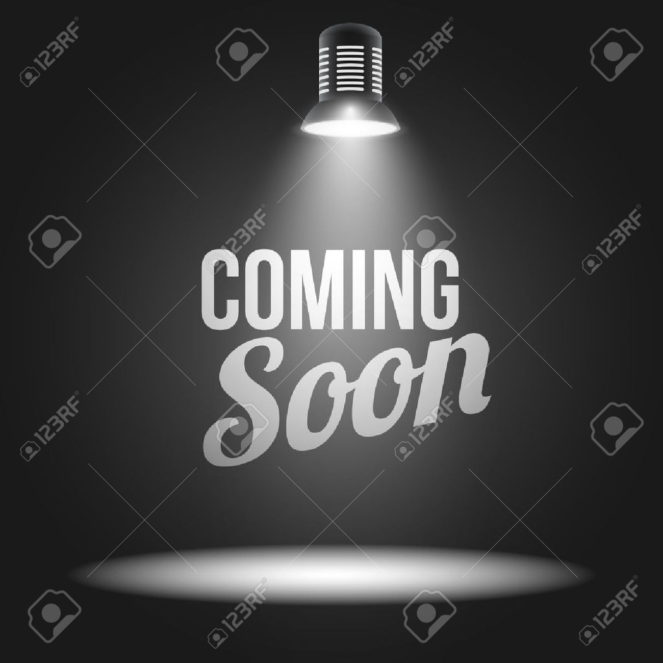 Light Projector Coming Soon Message Illuminated With Light Projector Blank Stage