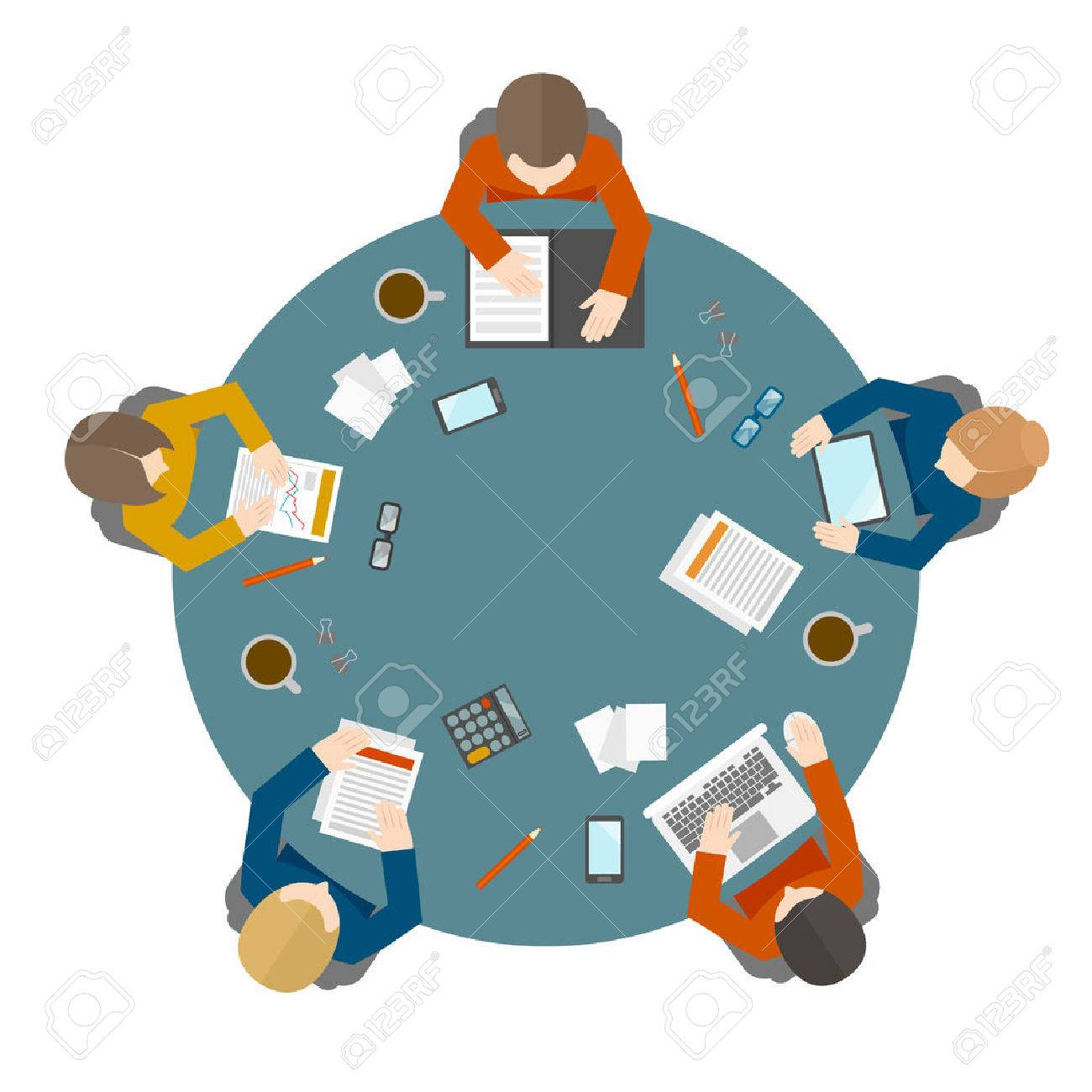 Flat style office workers business management meeting and brainstorming on the round table in top view