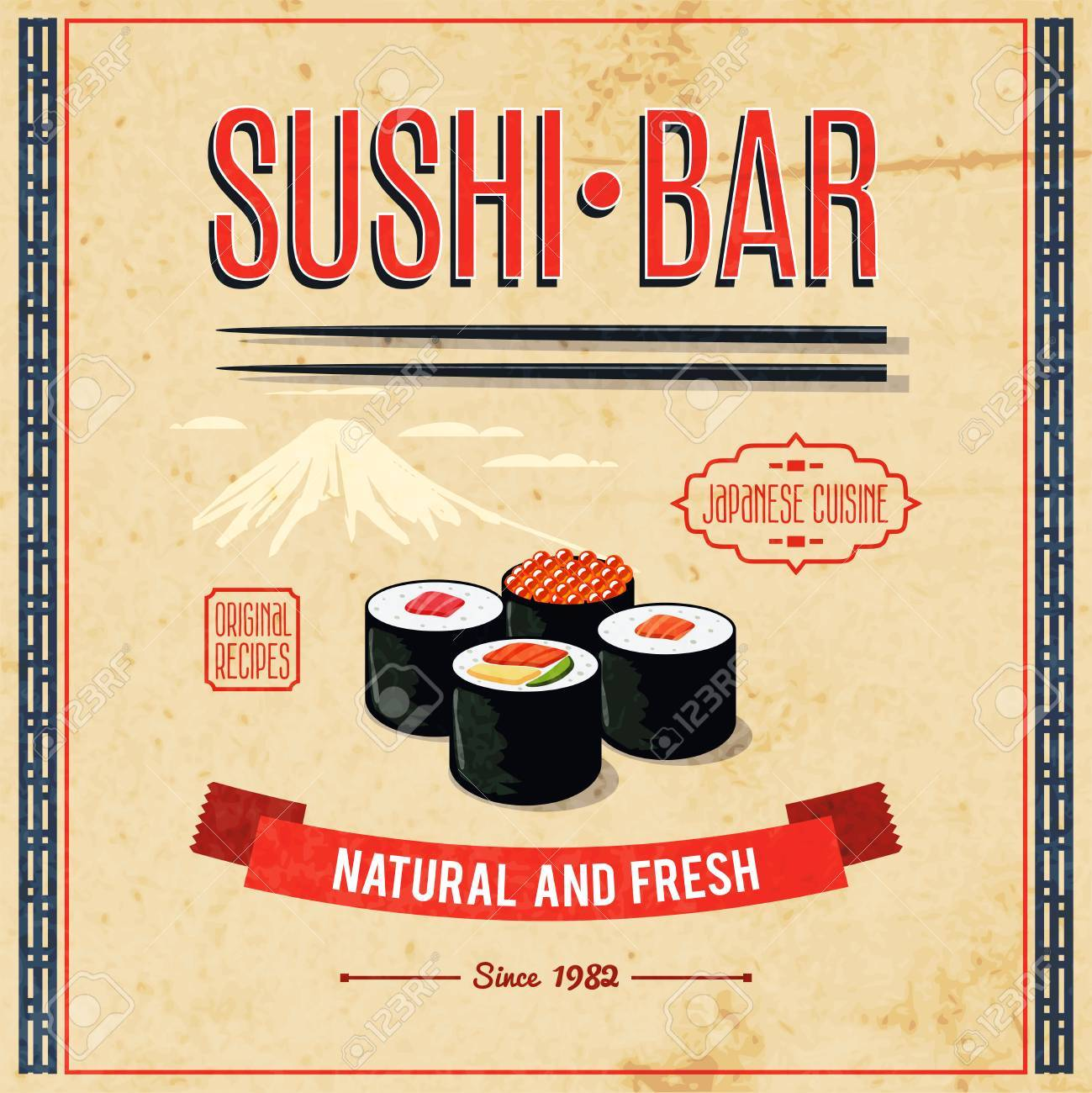 Poster Cuisine Asian Food Sushi Bar Natural And Fresh Japanese Cuisine Poster