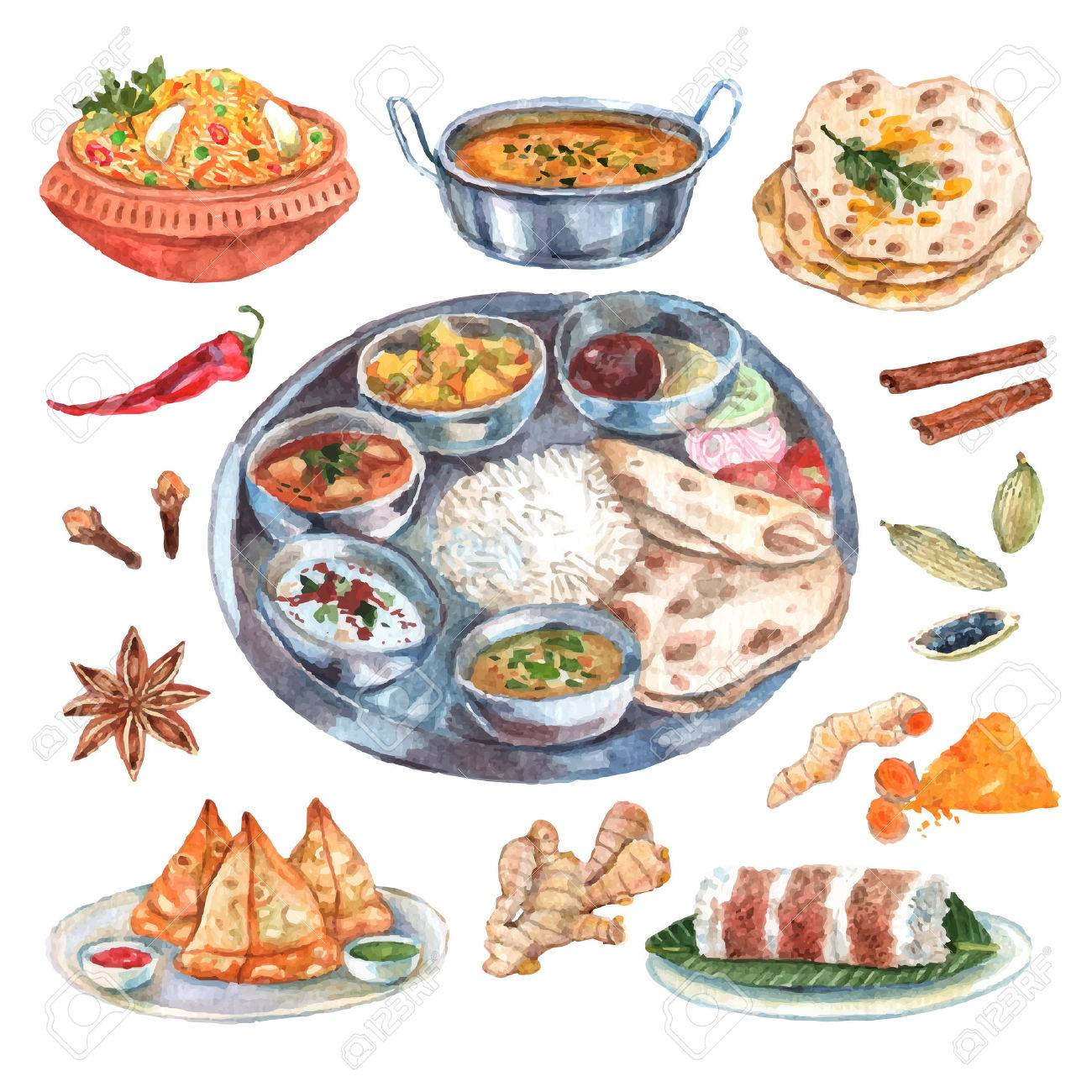 Poster Cuisine Traditional Indian Cuisine Restaurant Food Ingredients Pictograms