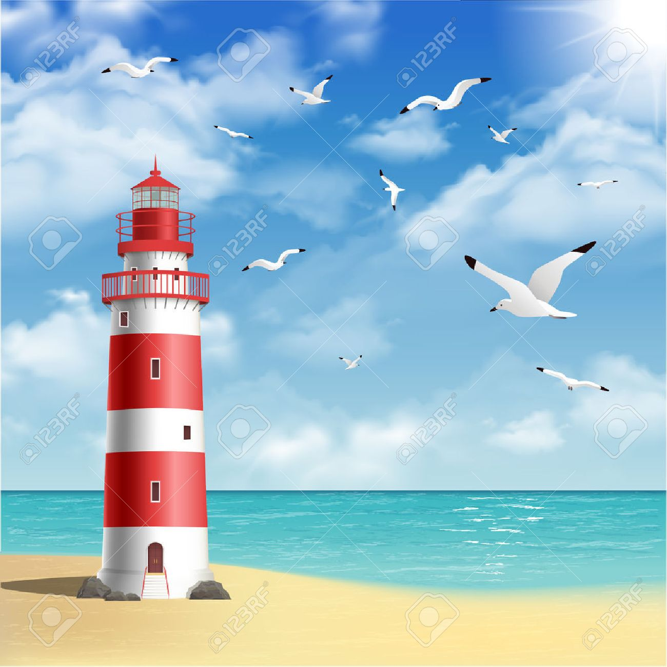 Lighthouse Background Realistic Lighthouse On The Beach With Seagulls And Ocean On
