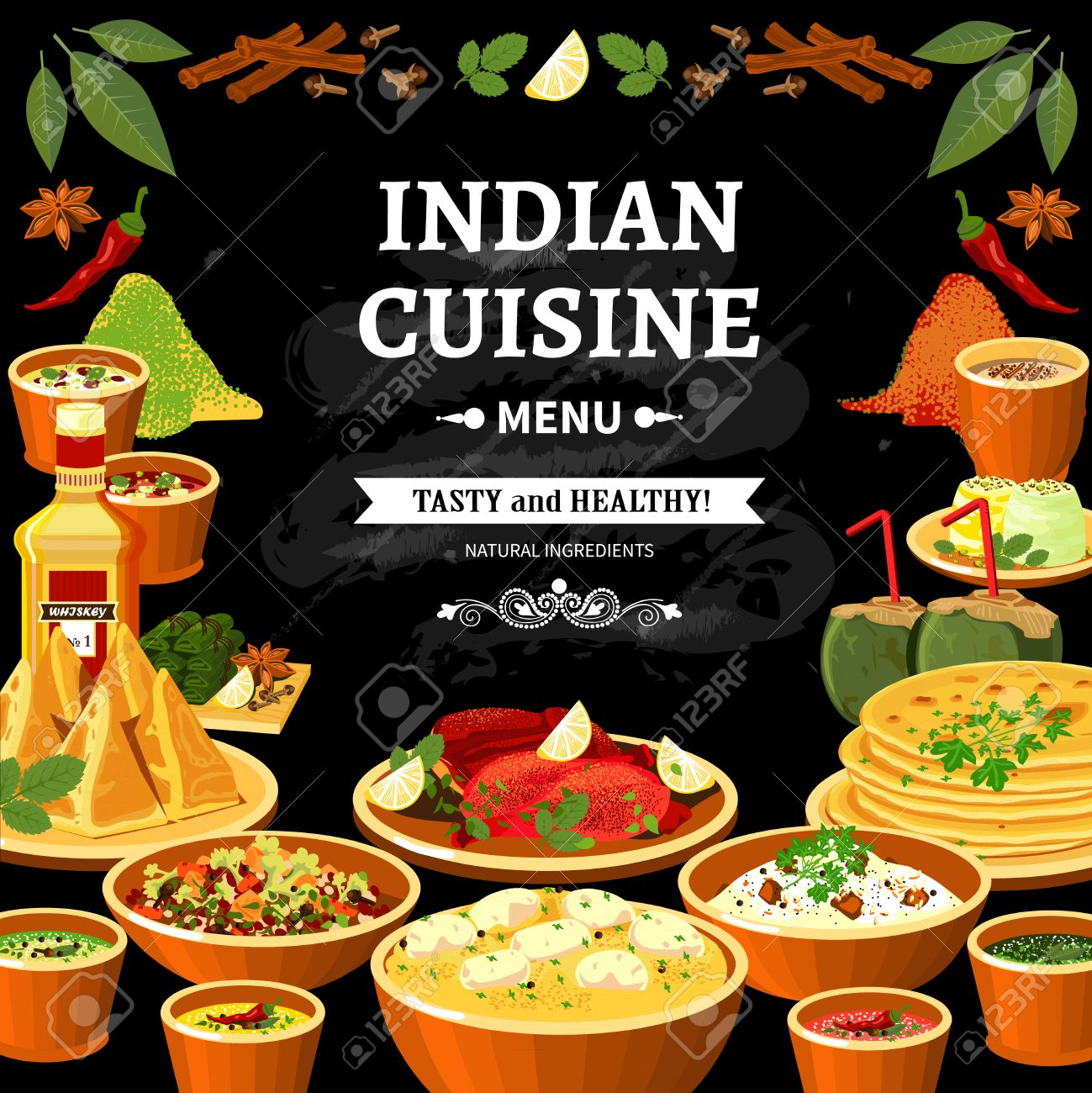 Poster Cuisine Indian Cuisine Restaurant Menu Black Board Poster With Colorful