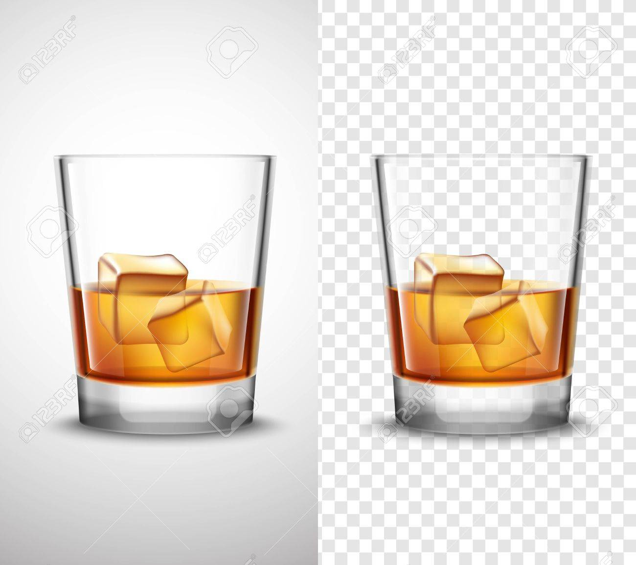 Wisky Glas Scotch Whisky Glasses Set With Alcohol And Ice Cubes 2 Realistic