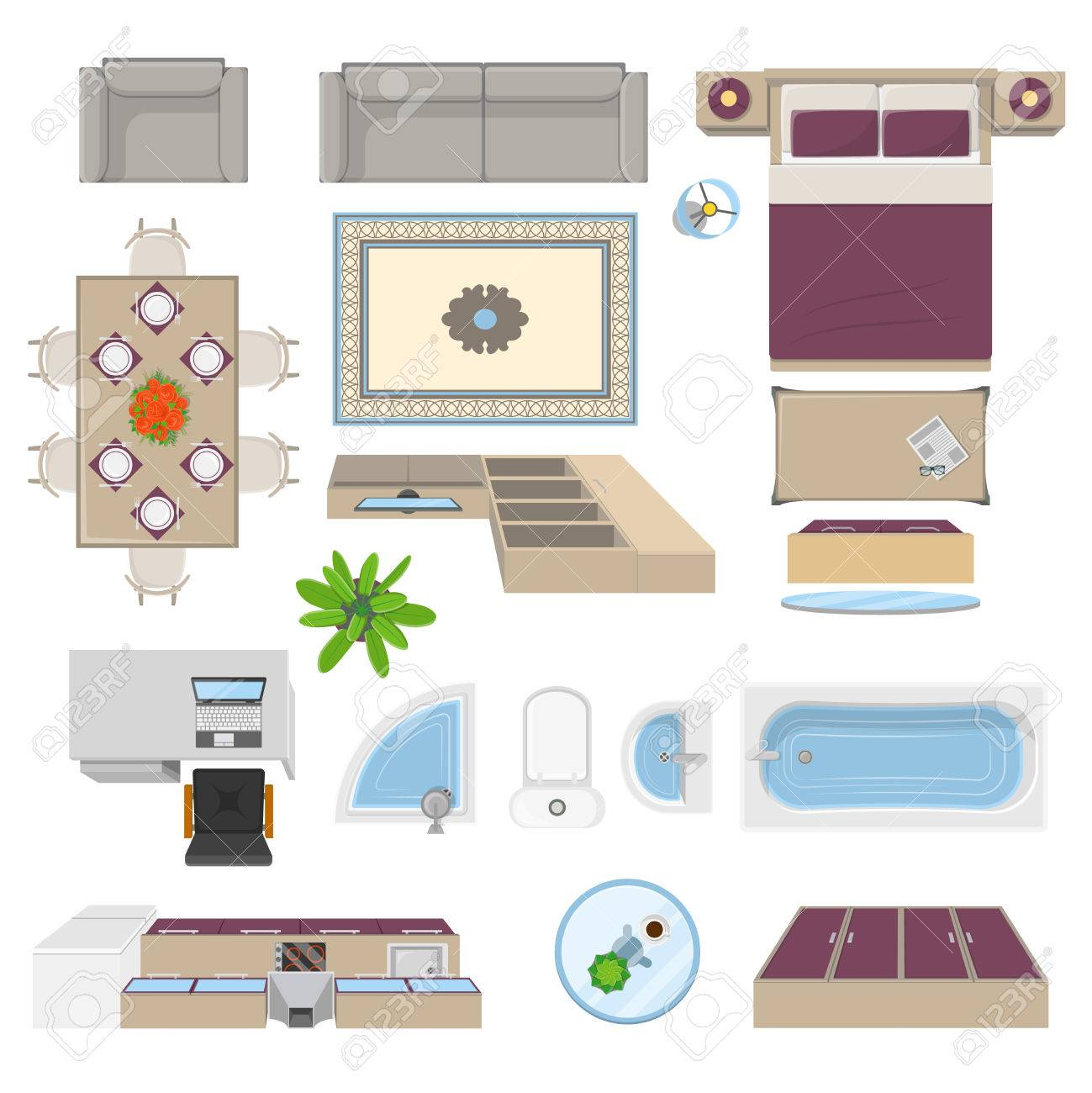 Interior Elements Top View Position With Kitchen Lounge Bathroom Royalty Free Cliparts Vectors And Stock Illustration Image 66734954
