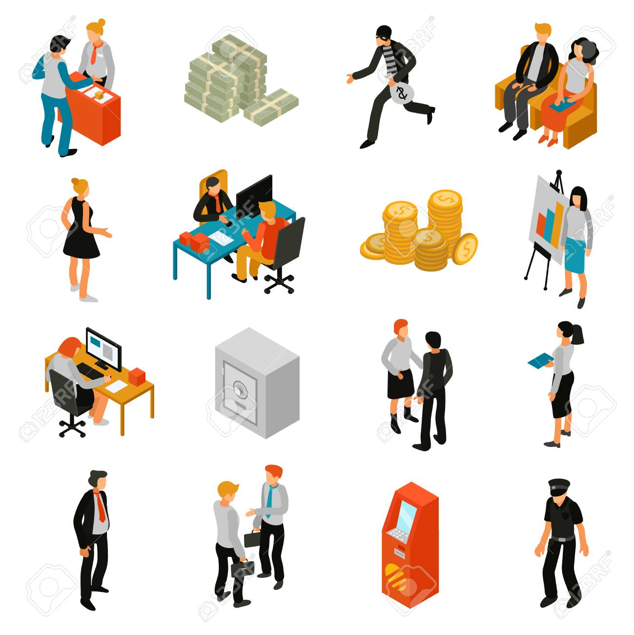 Essteller Set Bank People Isometric Icons Set With Teller Financial Adviser