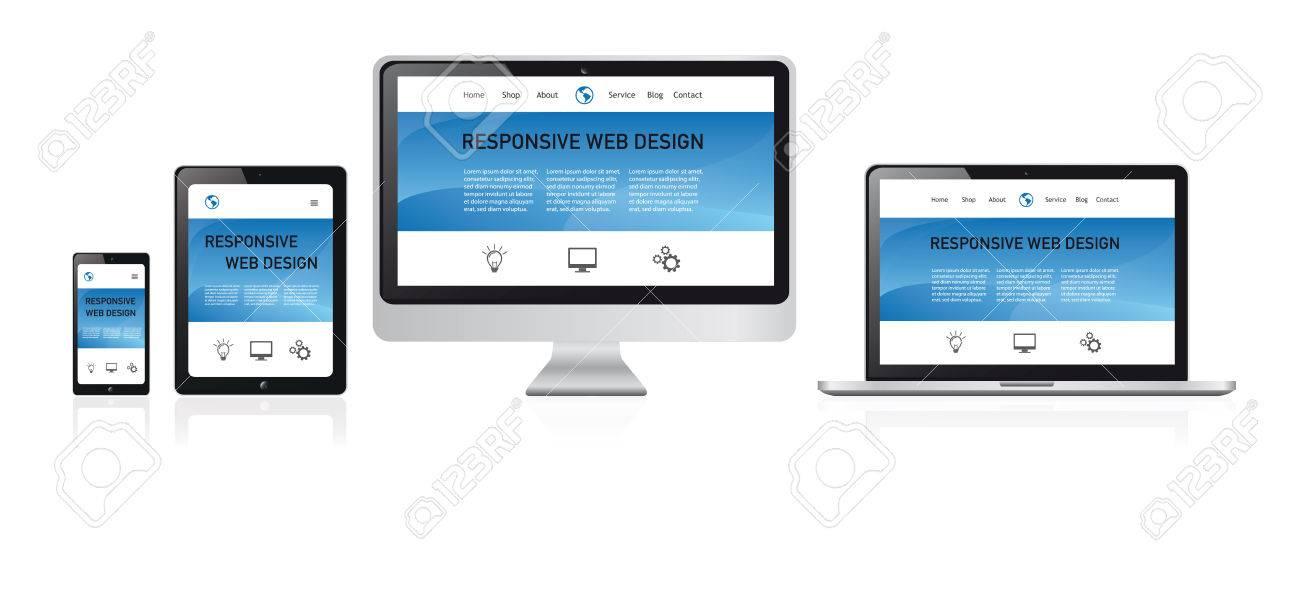 Responsive Web Design Illustration, Media Devices With Modern
