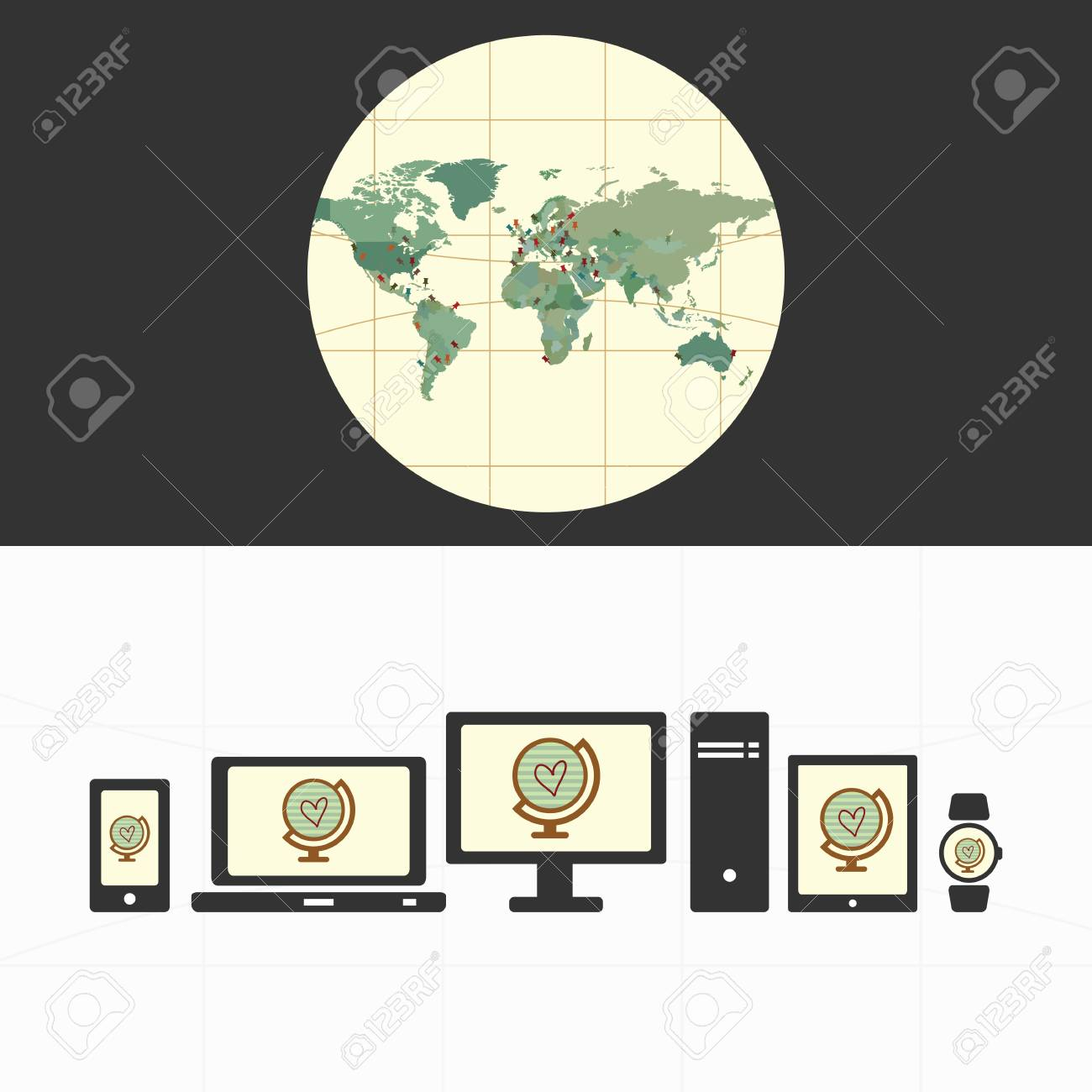 Travel Blog With Map Vector Illustration Banner Layout For Travel Blog Or Touristic