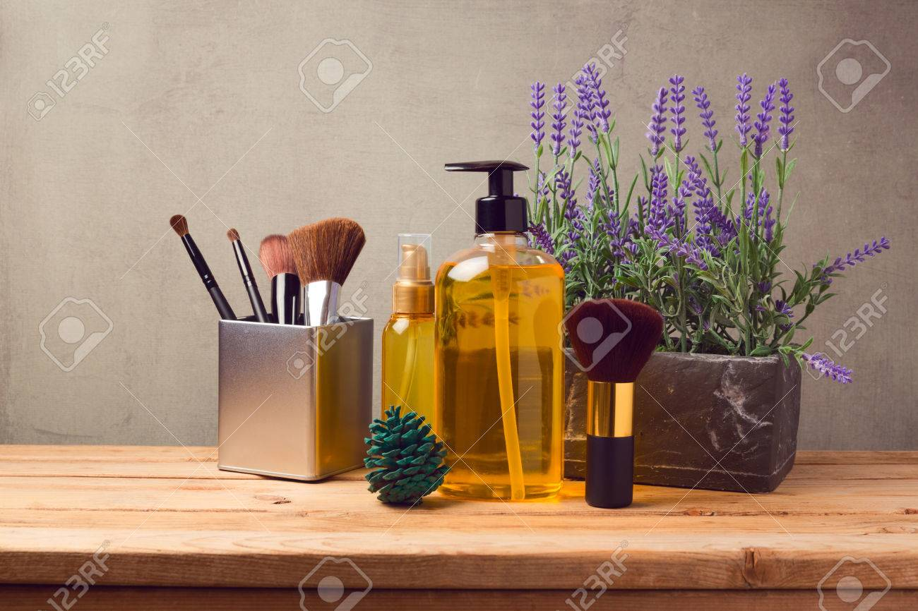 Wooden Make Up Table Cosmetic Spa And Make Up Background With Products On Wooden