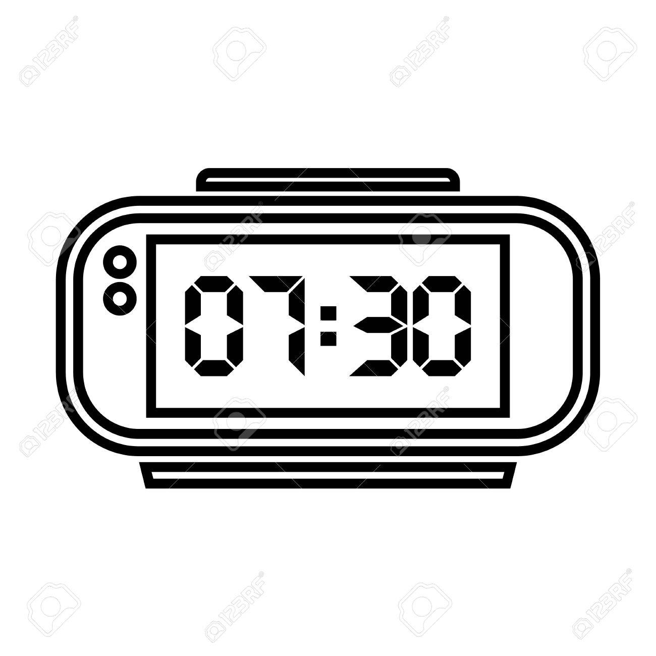 Digital Clock Digital Alarm Clock Vector Illustration On White Background