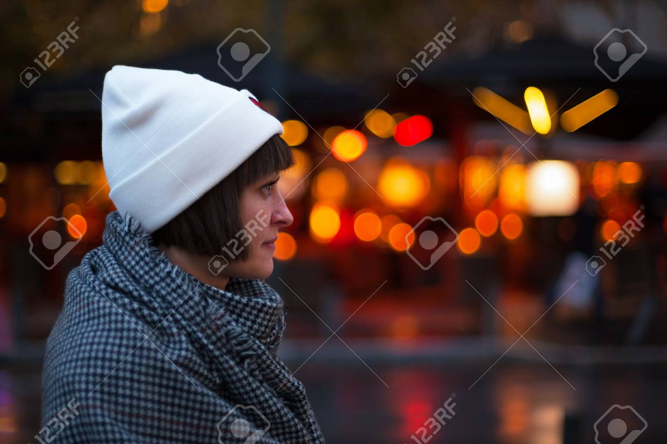 Girl Night Lights Girl In Profile In The Street In The Evening In The Light Of