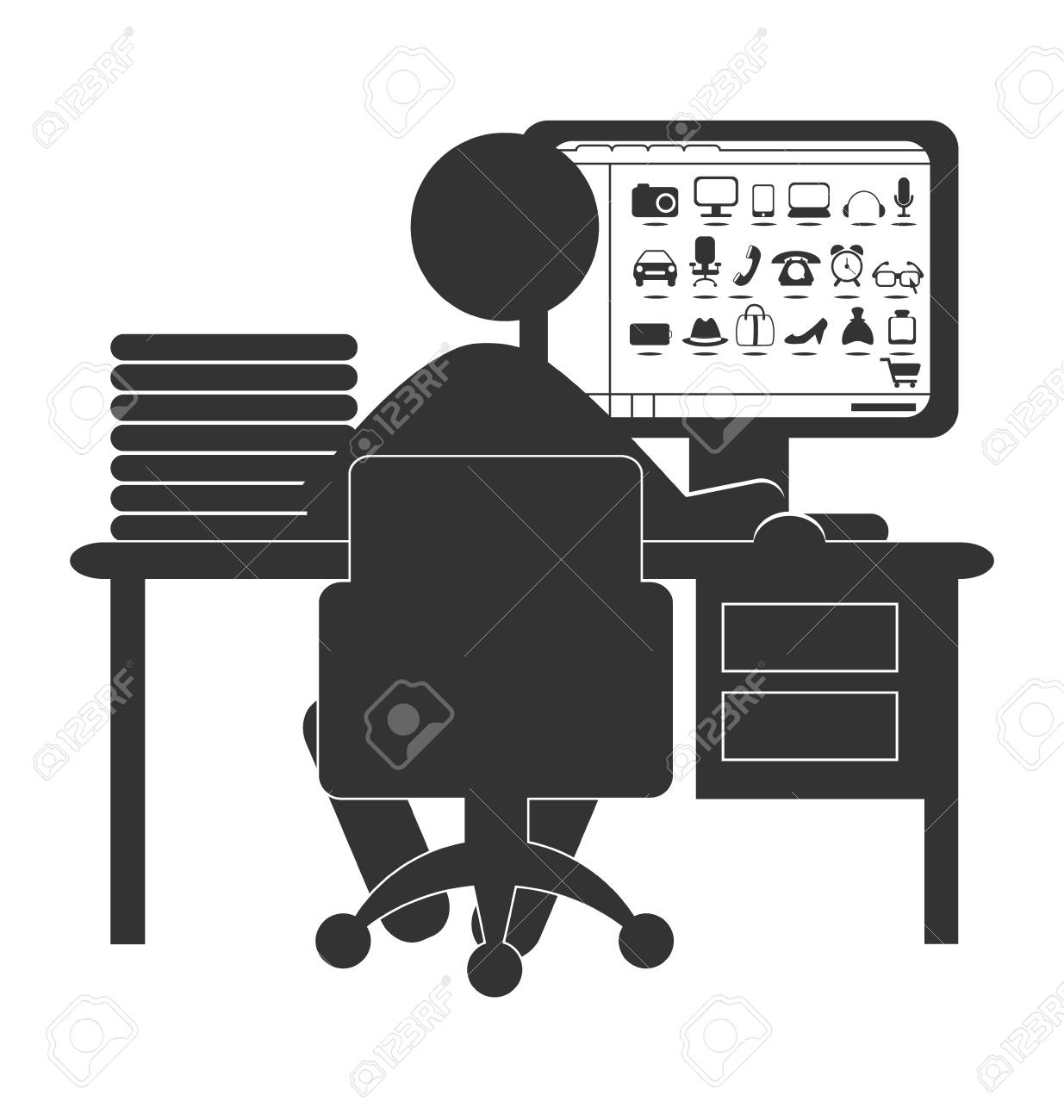 Computer Online Store Flat Computer Icon With Online Store Isolated On White Background