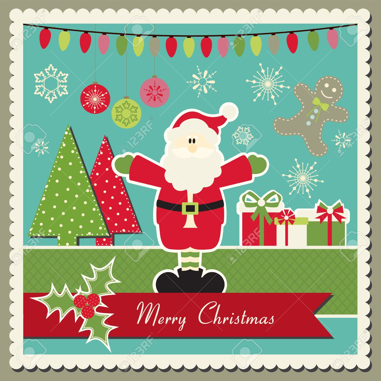 Scrapbook inspired christmas card with santa claus stock vector 16401213