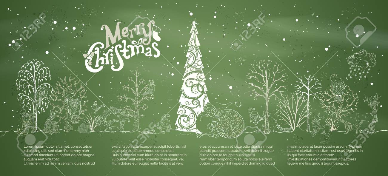 Vector Chalk Merry Christmas Background Woodland Animals In