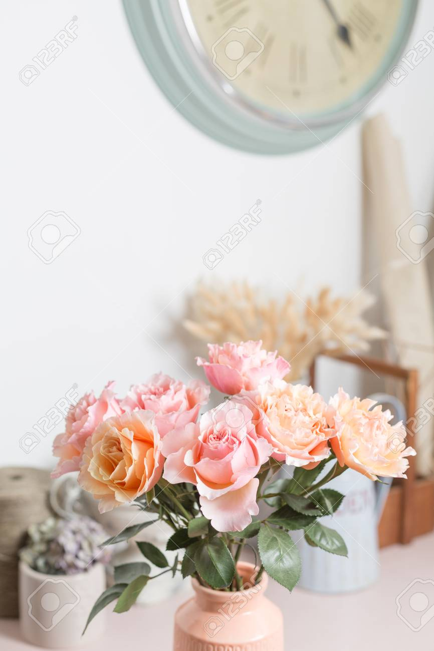 Shabby Chic Shop Bouquet Flowers Of Pink Roses In Glass Vase Shabby Chic Home